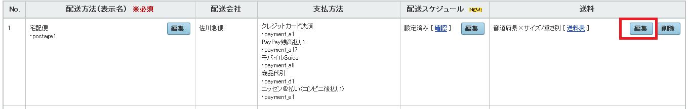 各配送方法の横にある「送料」の「編集」をクリック。